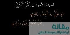جديد اشعار ابن الاسود بن يعفر النهشلي